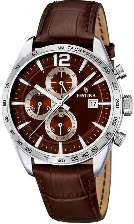 35d3e60e1 Festina Chronograph 16760/2. Pánske hodinky - kožený remienok, ocel puzdro,  minerálne sklíčko. Všetky technické parametre nájdete nižšie