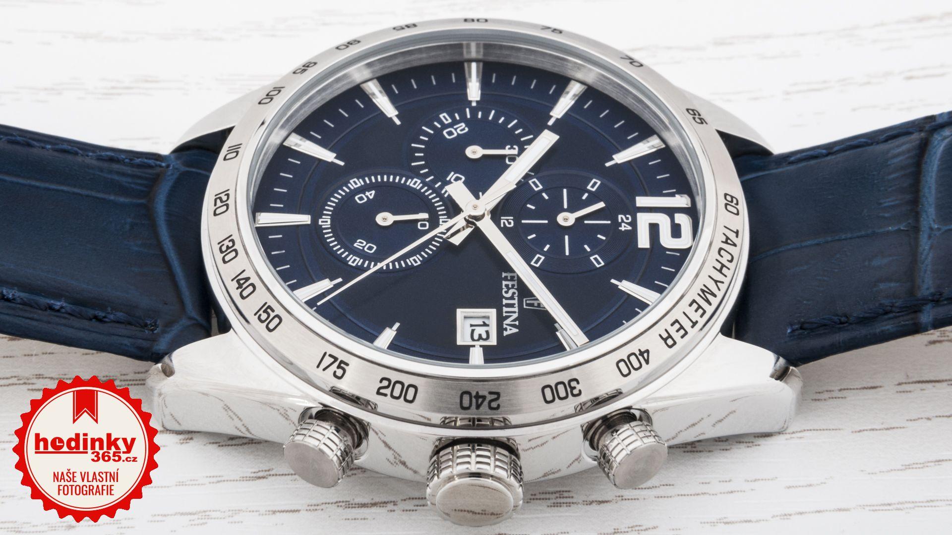 Festina Chronograph 16760 3. Pánske hodinky - kožený remienok bfabee23bb9