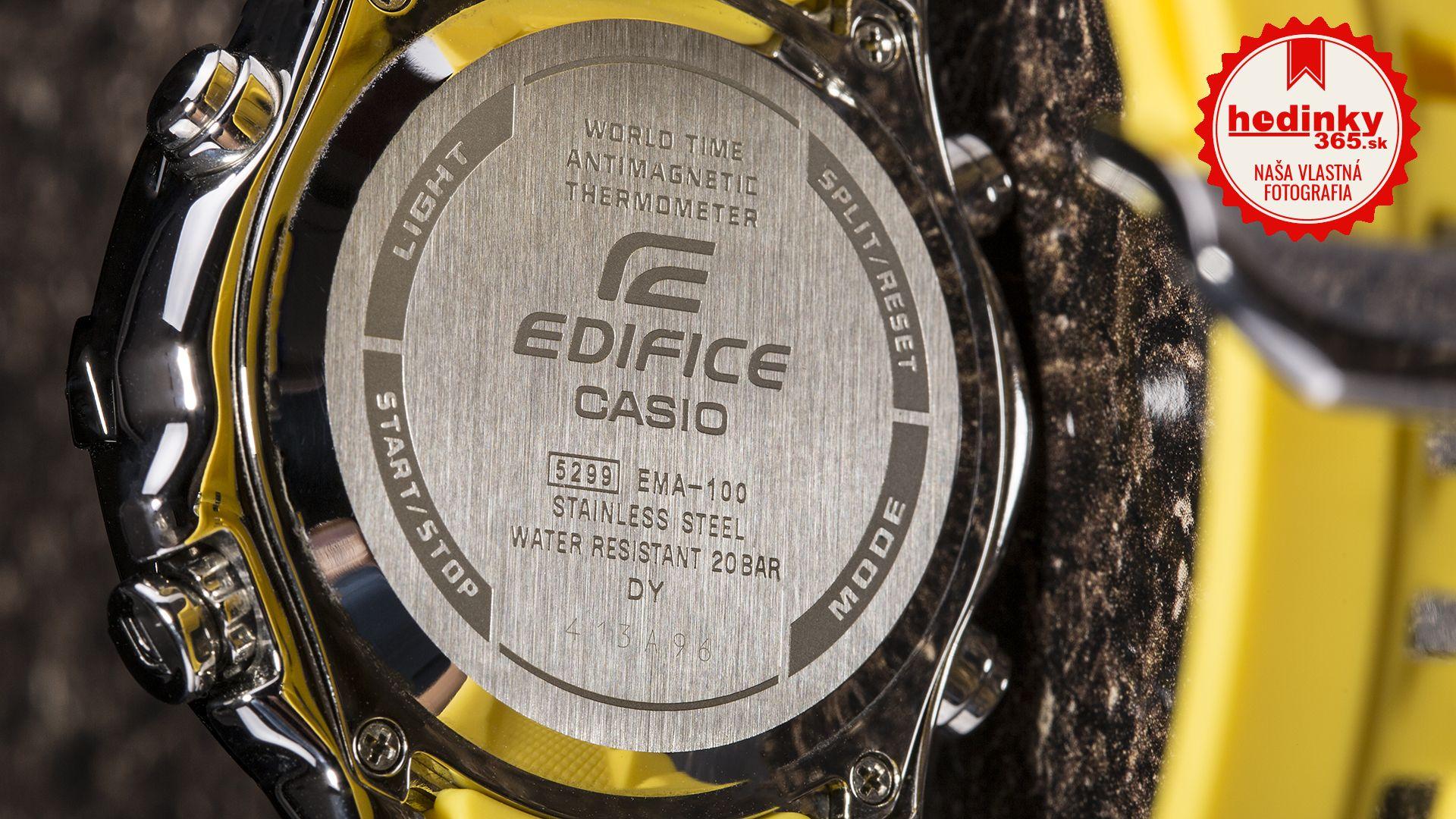 Casio Edifice EMA-100B-1A9VUEF. Pánske hodinky - živicový remienok 8df879d6495